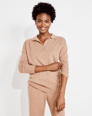 Pure Cashmere Open Collar Knit Sweater