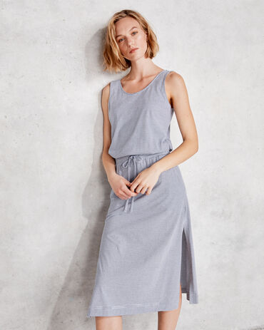 Organic Cotton Interlock Striped Tie Waist Midi Dress