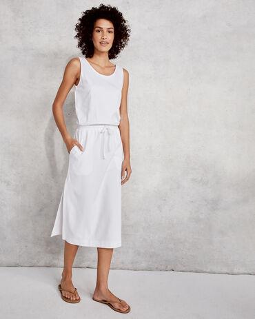 Organic Cotton Interlock Tie Waist Midi Dress