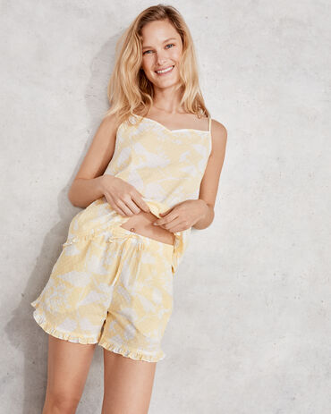 True Cotton Floral Embroidered Dot Short