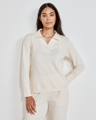 Organic Cotton Interlock Open Collar Top