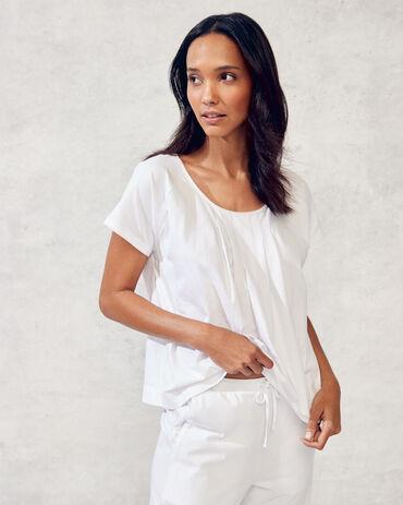 Organic Cotton Jersey Pintucked Short Sleeve Tee