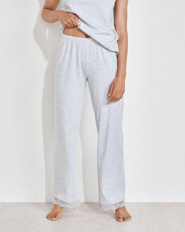 Organic Cotton Jersey Lace Trim Pants
