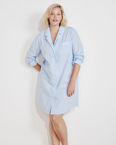 True Cotton Striped Sleep Shirt