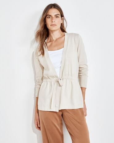 Cotton Cashmere Tie Front Cardigan