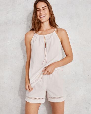 True Cotton Seersucker Lace Short