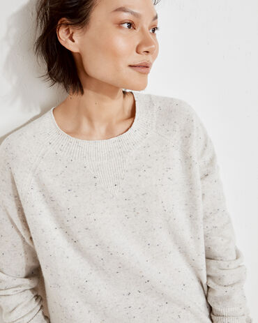 Pure Cashmere Curved Hem Sweater