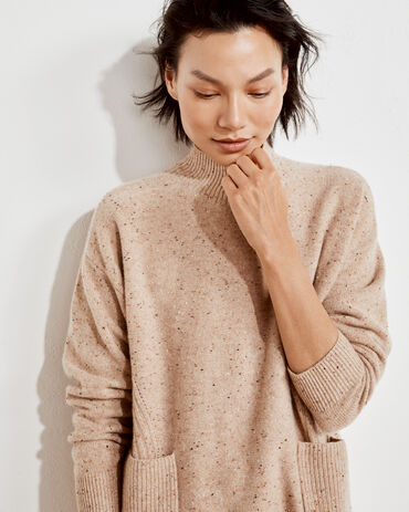 Pure Cashmere Mock Neck Sweater