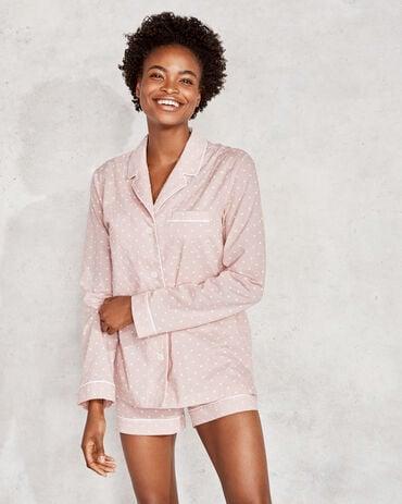 True Cotton Embroidered Dot Pajama Shirt