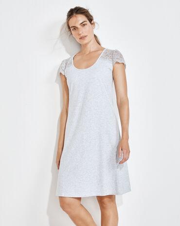 Organic Cotton Jersey Lace Shoulder Sleep Dress