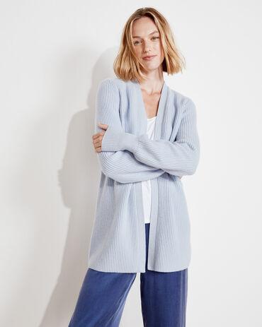 Pure Cashmere Puff Sleeve Cardigan