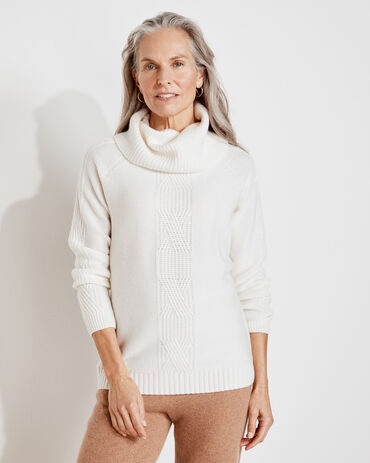 Pure Cashmere Cable Knit Cowl Neck Sweater