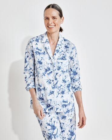 Organic True Cotton Blurred Floral Pajama Shirt