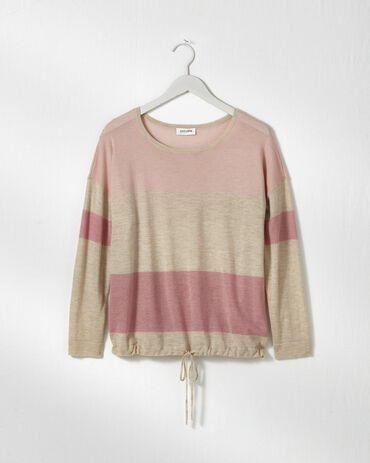 Pure Cashmere Colorblock Tie Front Sweater