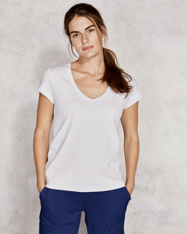Organic Cotton Jersey V Neck Tee