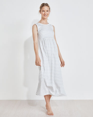 Organic Cotton Interlock Striped Tank Midi Dress