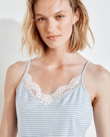 Organic Cotton Jersey Striped Lace Cami