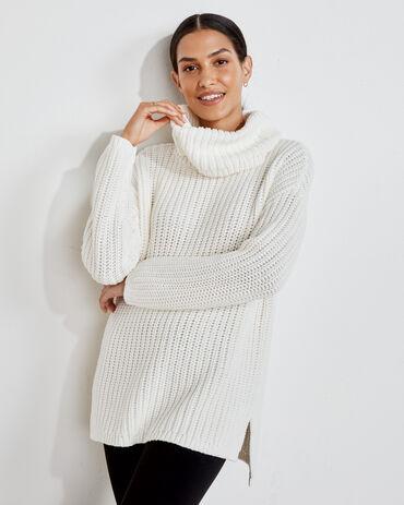 Funnel Neck Cotton Sweater