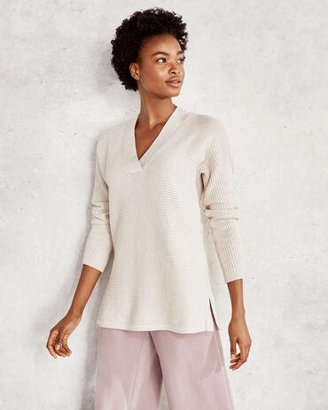 Horizontal Shaker Stitch V Neck Sweater
