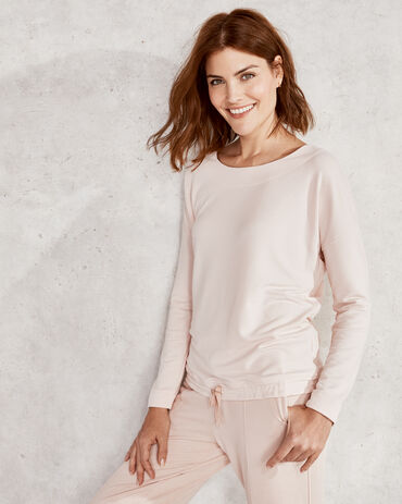 French Terry Wide Neck Drop Shoulder Top