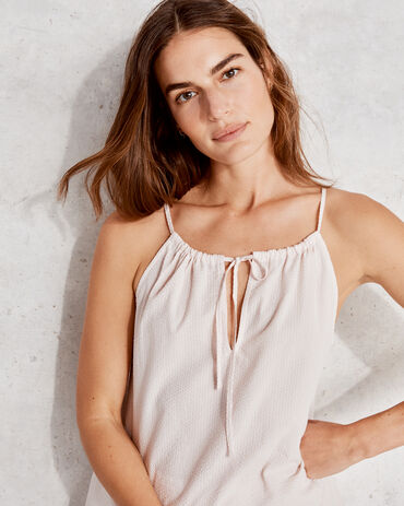 True Cotton Seersucker Lace Cami