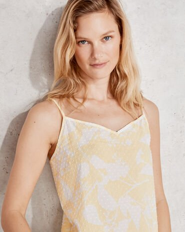 True Cotton Floral Embroidered Dot Cami