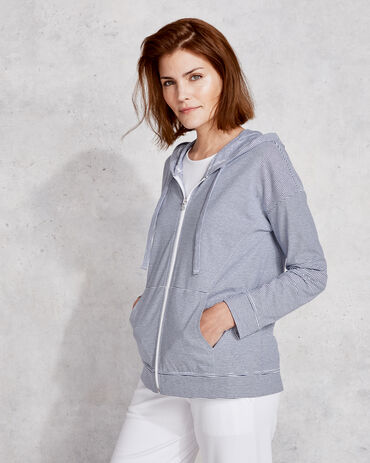 Organic Cotton Interlock Striped Zip Front Hoodie