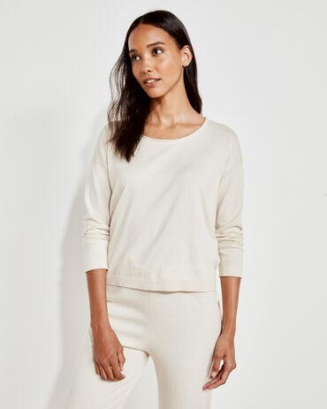 Cotton Cashmere Scoop Neck Sweater