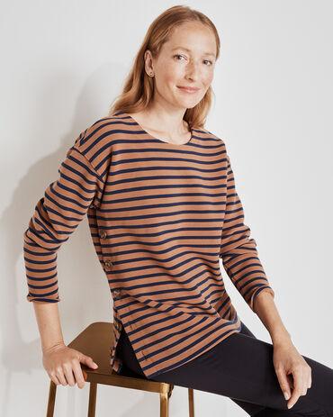 Ottoman Rib Striped Pullover