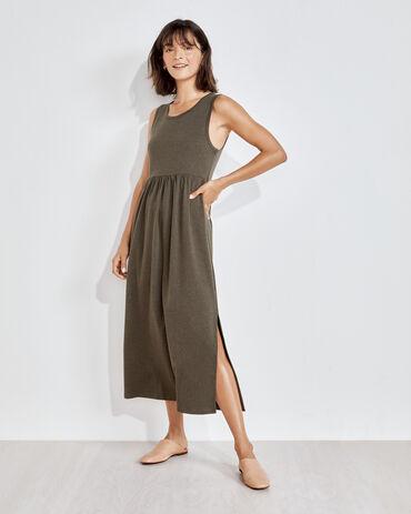 Organic Cotton Interlock Tank Midi Dress