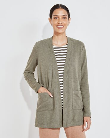 Brushed Jersey Open Front Cardigan