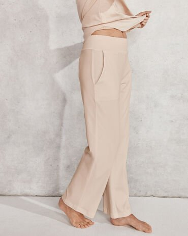 Organic Cotton Interlock Wide Leg Pant