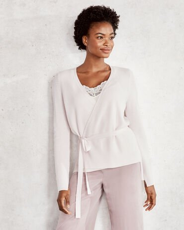 Pure Cashmere Ribbed Wrap Sweater