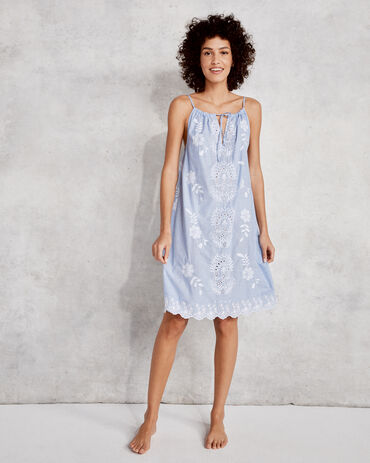 True Cotton Embroidered Floral Sleep Dress